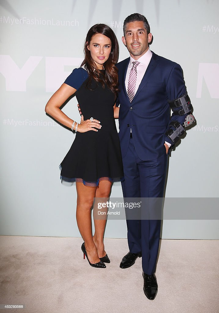 Jodi and Braith Anasta arrive at the Myer Spring Summer 2014 Fashion Launch at Carriageworks on August 7, 2014 in Sydney, Australia.