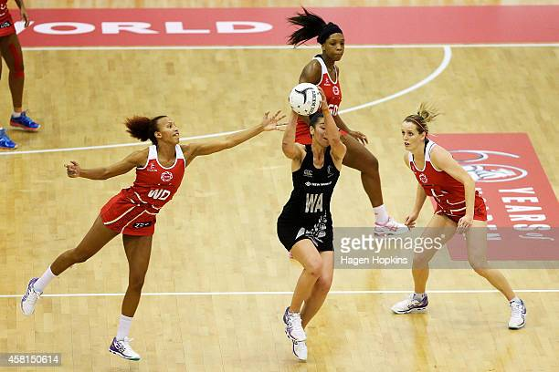 Jodi Brown of New Zealand beats the defence of Serena Guthrie of England during game two of the International Test Series between the New Zealand...