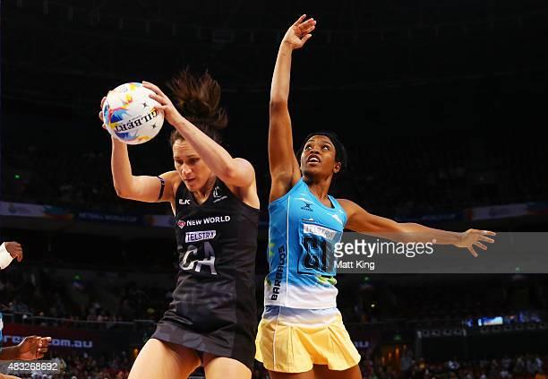 Jodi Brown of New Zealand is challenged by Shanice Rock of Barbados during the 2015 Netball World Cup match between New Zealand and Barbados at...