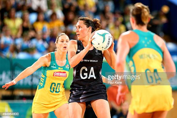 Jodi Brown of New Zealand looks to pass the ball during the International Test Match between the Australian Diamonds and the New Zealand Silver Ferns...