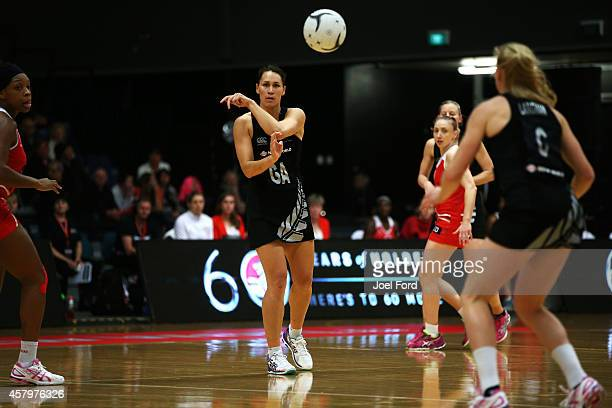 Jodi Brown of New Zealand passes the ball during the International netball Test match between the New Zealand White Ferns and England on October 28...