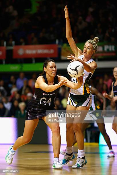 Jodi Brown of the Silver Ferns is put under pressure from Karla Mostert of the Proteas during the International Test Match between the New Zealand...