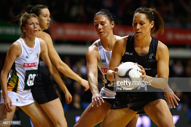 Jodi Brown of the Silver Ferns takes a pass during the International Test Match between the New Zealand Silver Ferns and the South Africa Proteas at...