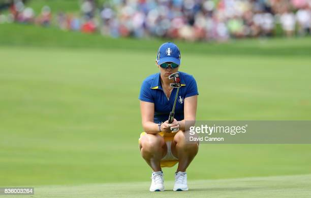 Jodi Ewart Shadoff of England and the European team in action against Lizette Salas of the United States team during the final day singles matches in...