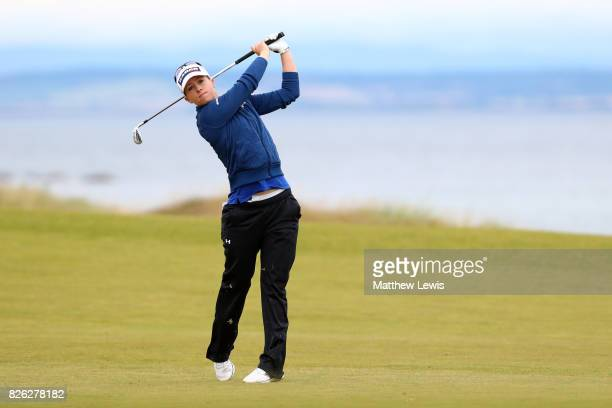 Jodi Ewart Shadoff of England hits her second shot on the 4th hole during the second round of the Ricoh Women's British Open at Kingsbarns Golf Links...