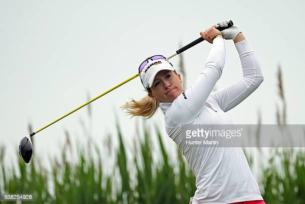 Jodi Ewart Shadoff of England hits her tee shot on the third hole during the final round of the ShopRite LPGA Classic presented by Acer on the Bay...