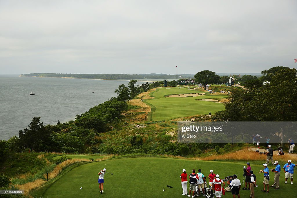 Jodi Ewart Shadoff of England hits the ball on the eighteenth tee during the third round of the 2013 U.S. Women's Open at Sebonack Golf Club on June 29, 2013 in Southampton, New York.