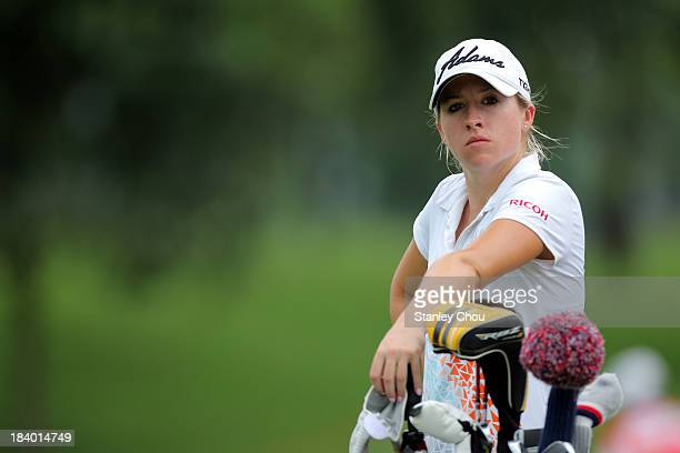 Jodi Ewart Shadoff of England looks on the 18th hole during day two of the Sime Darby LPGA Malaysia at Kuala Lumpur Golf Country Club on October 11...