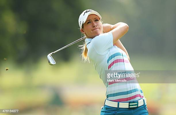 Jodi Ewart Shadoff of England plays an approach shot on the 11th hole during the first round of the HSBC Women's Champions at Sentosa Golf Club on...