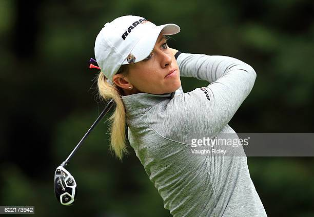 Jodi Ewart Shadoff of England watches her 1st shot on the 4th hole during the first round of the Citibanamex Lorena Ochoa Invitational Presented By...