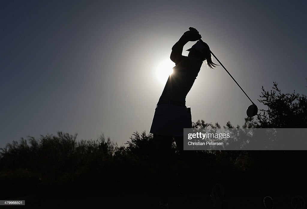 Jodi Ewart-Shadoff of England hits a tee shot on the ninth hole during the second round of the JTBC LPGA Founders Cup at Wildfire Golf Club on March 21, 2014 in Phoenix, Arizona.