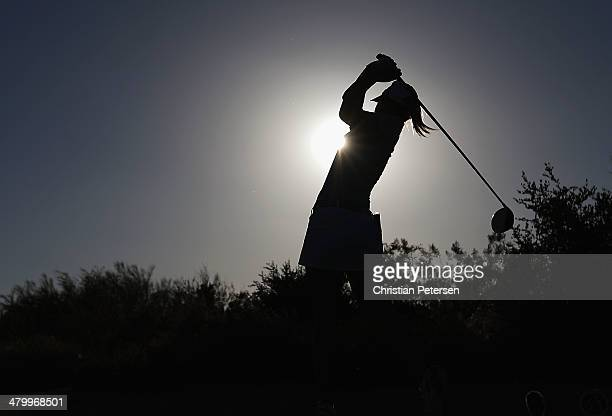 Jodi EwartShadoff of England hits a tee shot on the ninth hole during the second round of the JTBC LPGA Founders Cup at Wildfire Golf Club on March...