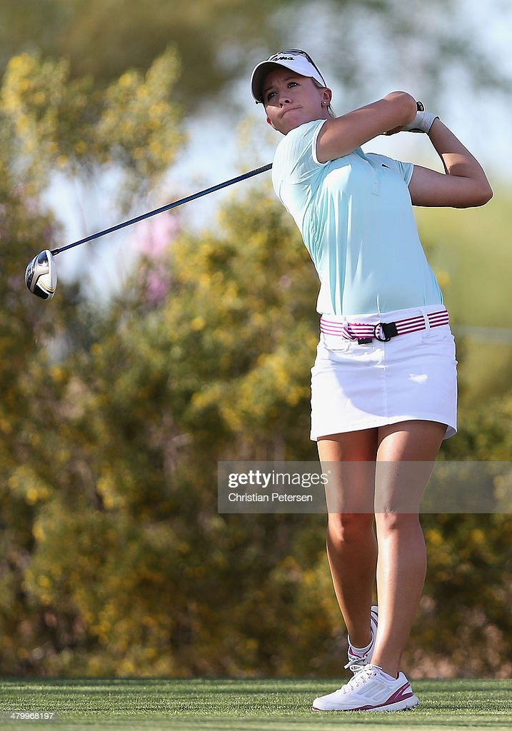 Jodi Ewart-Shadoff of England hits a tee shot on the seventh hole during the second round of the JTBC LPGA Founders Cup at Wildfire Golf Club on March 21, 2014 in Phoenix, Arizona.
