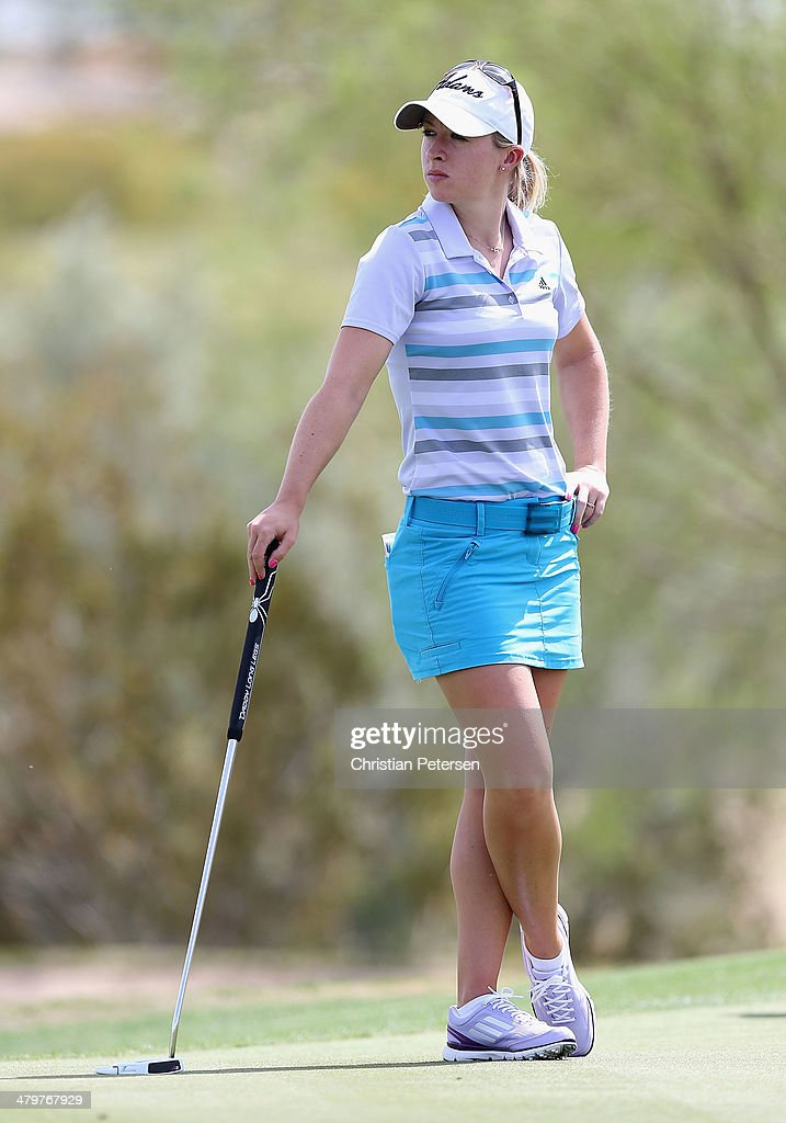 Jodi Ewart-Shadoff of England waits to putt on the 18th green during the first round of the JTBC LPGA Founders Cup at Wildfire Golf Club on March 20, 2014 in Phoenix, Arizona.