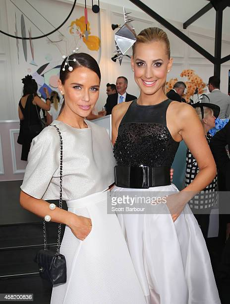 Jodi Gordon and Laura Dundovic attend the Myer Marquee on Derby Day at Flemington Racecourse on November 1 2014 in Melbourne Australia