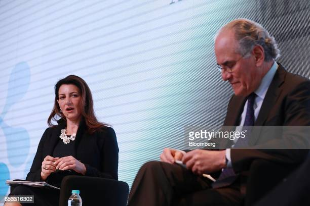 Jodi Hanson Bond vice president for the Americas at the US Chamber of Commerce left speaks while Herminio Blanco Mendoza president of IQOM SA listens...