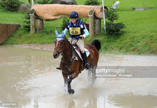 Jodie Amos riding Wise Crack competes in the CCI3* cross country event during the Bramham International Horse Trials at Bramham Park West Yorkshire
