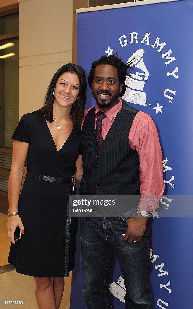 Jodie Blum, Executive Director, GRAMMY U, and Carlton D. Mackey pose during GRAMMY U Presents: Era of the Engineer at Emory University Center for Ethics on April 26, 2013 in Atlanta, Georgia.
