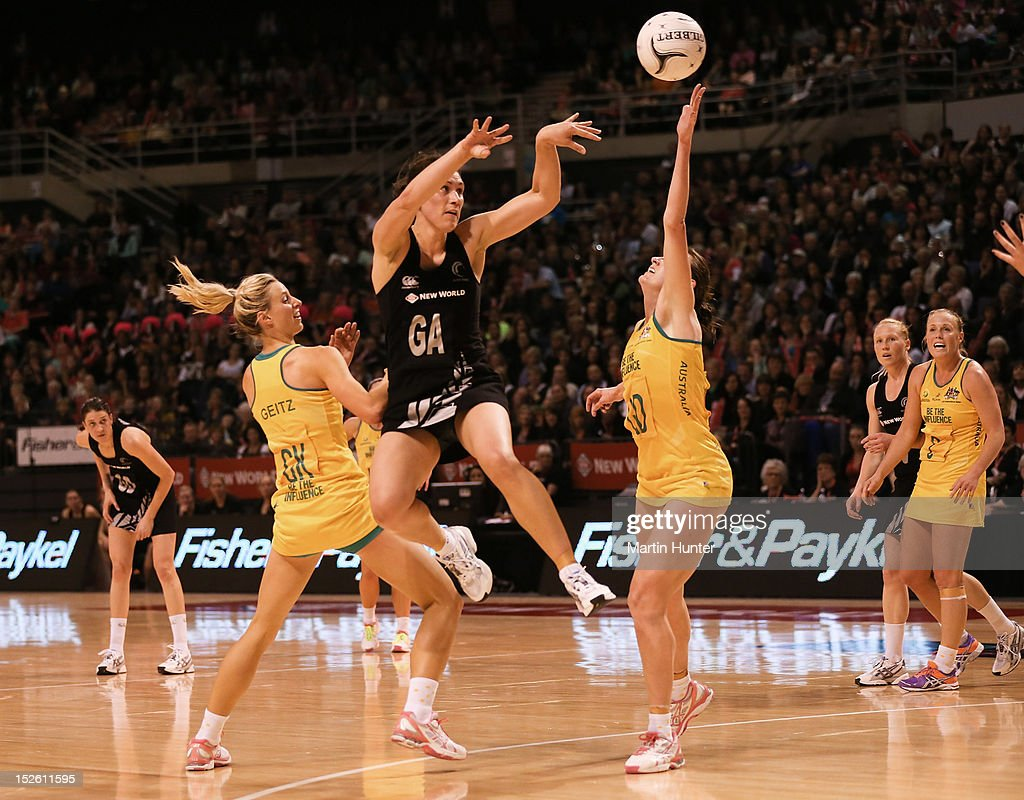 Jodie Brown (C) of New Zealand jumps for the ball during the Constellation Cup match between the New Zealand Silver Ferns and the Australian Diamonds at CBS Canterbury Arena on September 23, 2012 in Christchurch, New Zealand.
