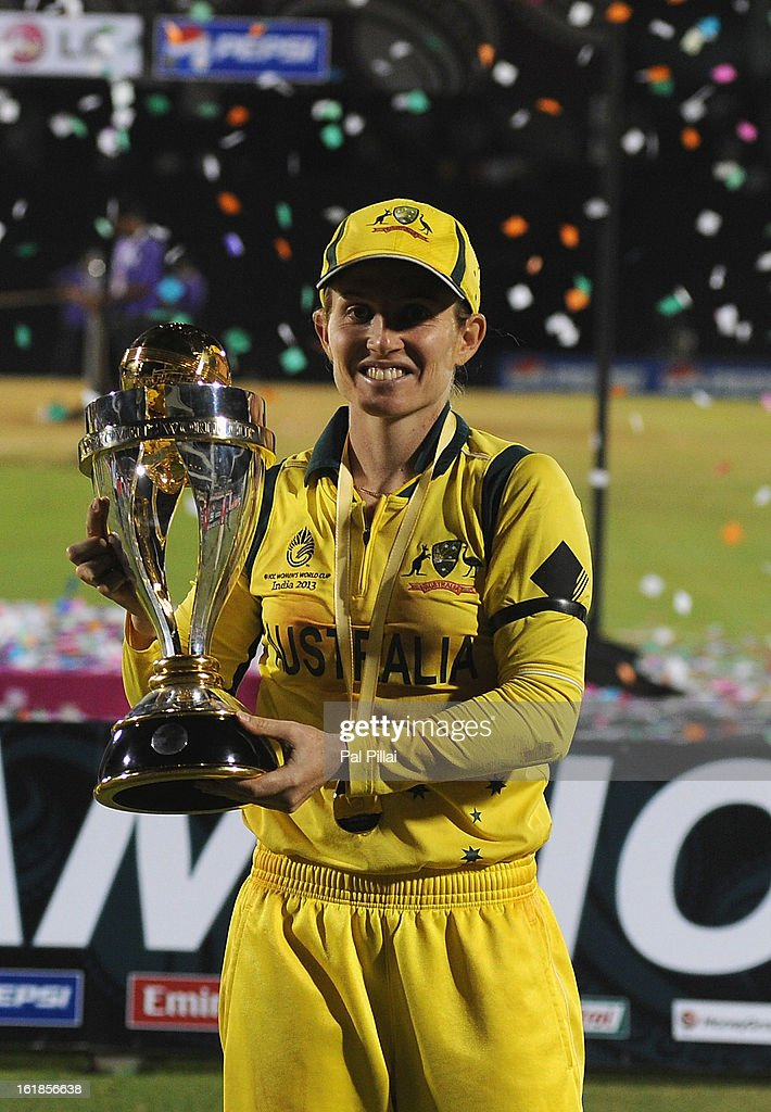 Jodie Fields, captain of Australia, poses with the Womens World Cup trophy, as Austarlia wins the ICC Womens World Cup 2013 between Australia and West Indies held at the CCI (Cricket Club of India) stadium on February 17, 2013 in Mumbai, India.