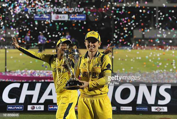 Jodie Fields captain of Australia poses with the Womens World Cup trophy as Austarlia wins the ICC Womens World Cup 2013 between Australia and West...