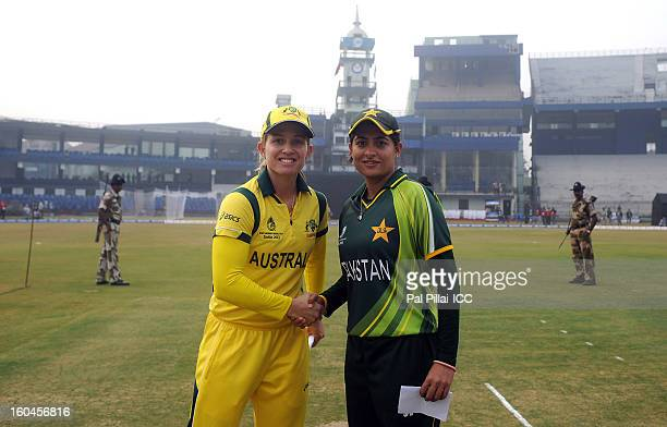 Jodie Fields captian of Australia and Sana Mir captain of Paksitan pose together during the toss before the start of the second match of ICC Womens...