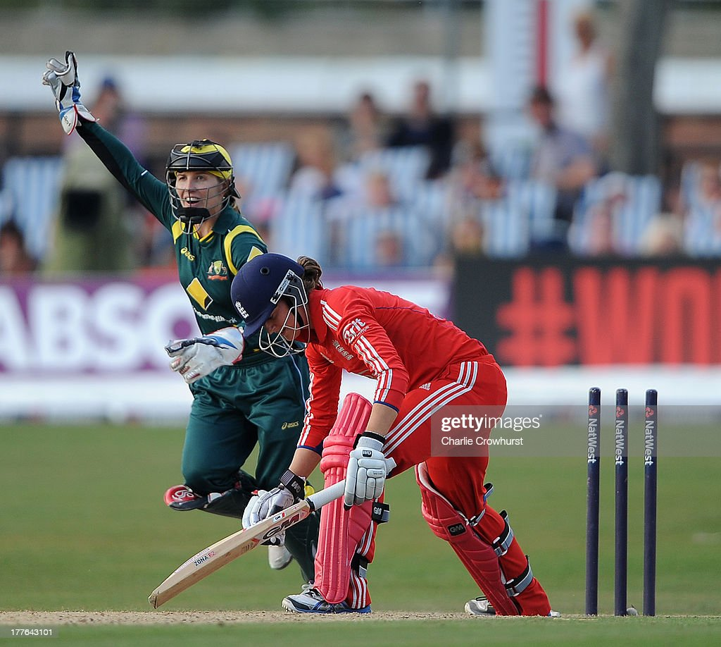 <a gi-track='captionPersonalityLinkClicked' href=/galleries/search?phrase=Jodie+Fields&family=editorial&specificpeople=5576479 ng-click='$event.stopPropagation()'>Jodie Fields</a> of Australia celebrates the wicket of Sarah Taylor of England after she is bowled during the England Women and Australia Women Ashes Series - 3rd NatWest ODI at The BrightonandHoveJobs.com County Ground on August 25, 2013 in Hove, England.