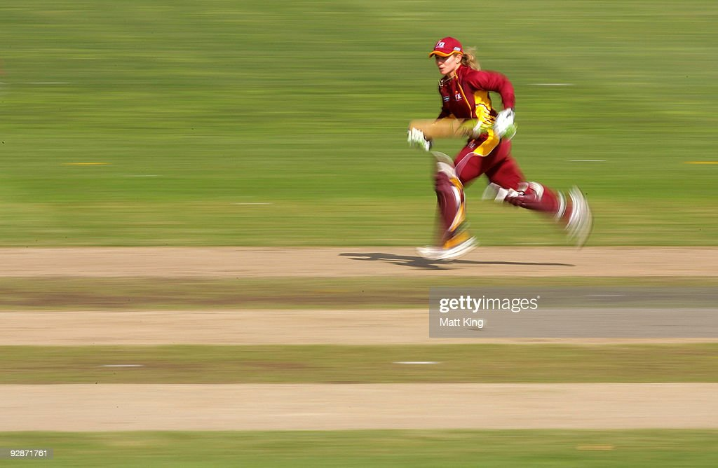 Jodie Fields of the Fire runs between the wickets during the WNCL match between the New South Wales Breakers and the Queensland Fire at North Sydney...