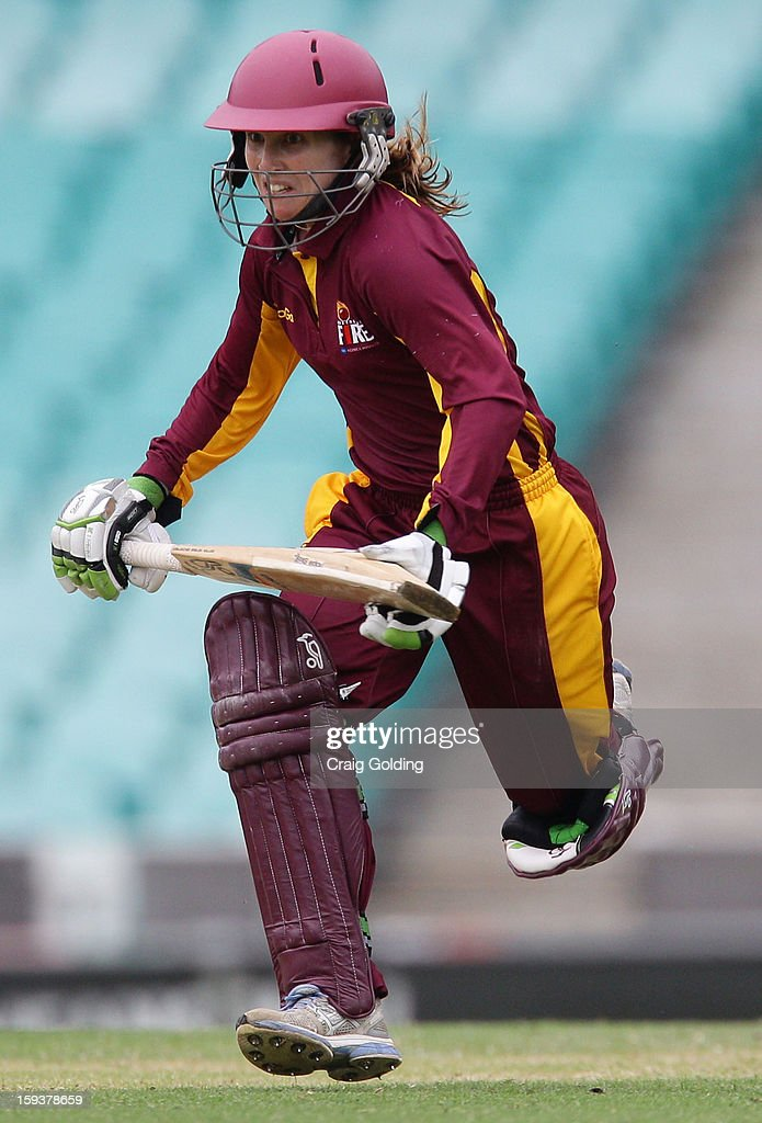 Jodie Fields runs between wickets during the WNCL Final match between the NSW Breakers and the Queensland Fire at the Sydney Cricket Ground on January 13, 2013 in Sydney, Australia.