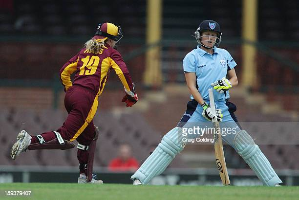 Jodie Fields stumps Alyssa Healy of the Breakers during the WNCL Final match between the NSW Breakers and the Queensland Fire at the Sydney Cricket...