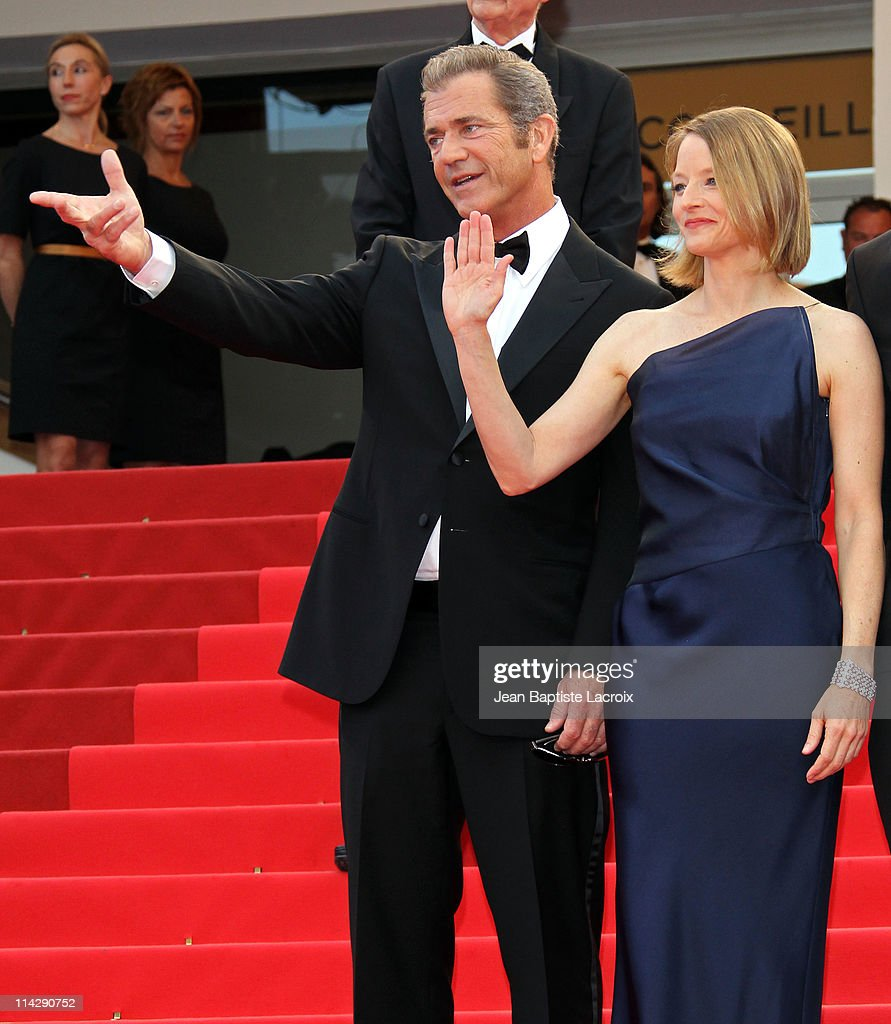 Jodie Foster and Mel Gibson attend 'The Beaver' Premiere during the 64th Cannes Film Festival at Palais des Festivals on May 17 2011 in Cannes France