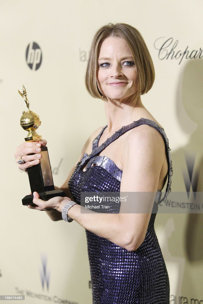 <a gi-track='captionPersonalityLinkClicked' href=/galleries/search?phrase=Jodie+Foster&family=editorial&specificpeople=204488 ng-click='$event.stopPropagation()'>Jodie Foster</a> arrives at The Weinstein Company's 2013 Golden Globes after party held at The Beverly Hilton Hotel on January 13, 2013 in Beverly Hills, California.