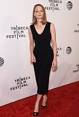 Jodie Foster attends the Tribeca Talks Director's Series Jodie Foster with Julie Taymor during the 2016 Tribeca Film Festival at Spring Studios on...