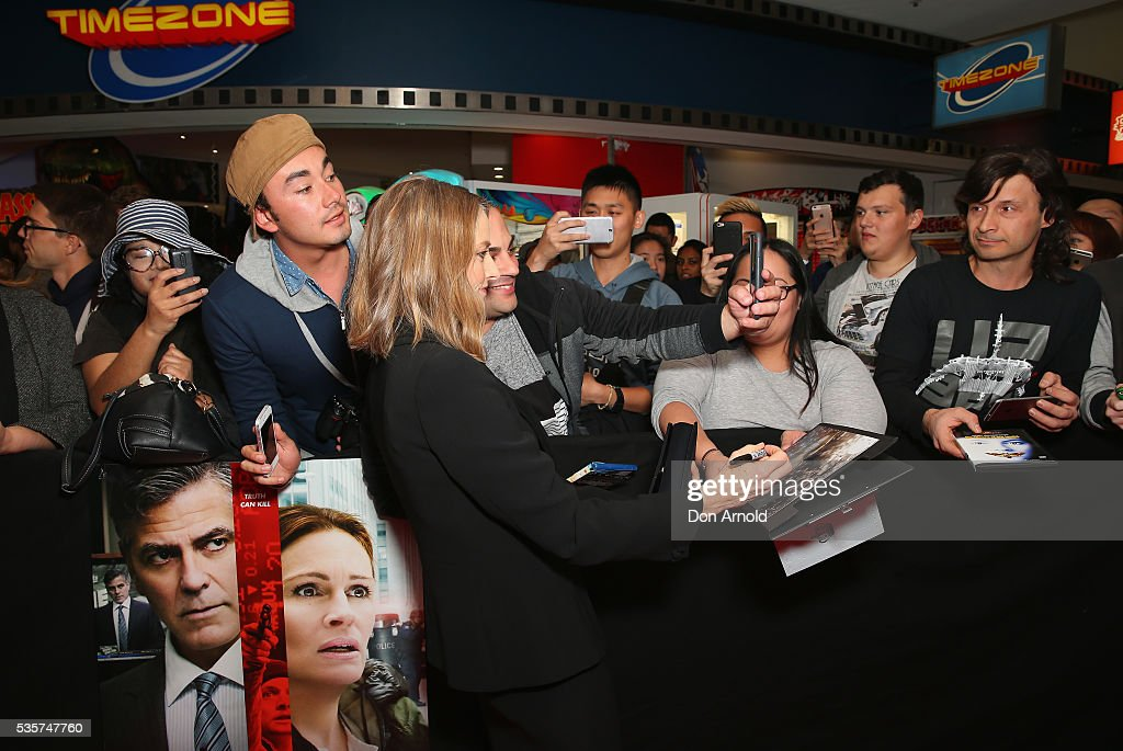 <a gi-track='captionPersonalityLinkClicked' href=/galleries/search?phrase=Jodie+Foster&family=editorial&specificpeople=204488 ng-click='$event.stopPropagation()'>Jodie Foster</a> greets fans ahead of the Money Monster Australian Premiere at Event Cinemas George Street on May 30, 2016 in Sydney, Australia.