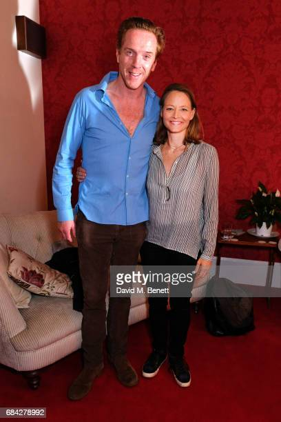 Jodie Foster poses backstage with Damian Lewis at the West End production of 'The Goat Or Who Is Sylvia' at the Theatre Royal Haymarket on May 17...
