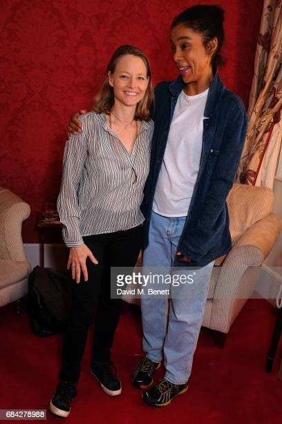 Jodie Foster poses backstage with Sophie Okonedo at the West End production of 'The Goat Or Who Is Sylvia' at the Theatre Royal Haymarket on May 17...
