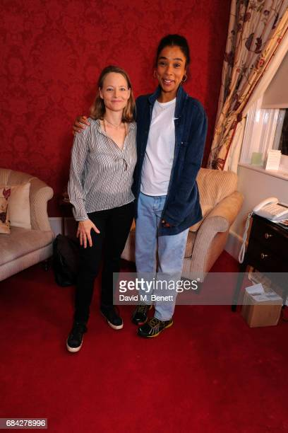Jodie Foster poses with Sophie Okonedo backstage at the West End production of 'The Goat Or Who Is Sylvia' at the Theatre Royal Haymarket on May 17...