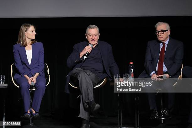 Jodie Foster Robert De Niro and Martin Scorsese attend the 'Taxi Driver' 40th anniversary screening during the 2016 Tribeca Film Festival at Beacon...