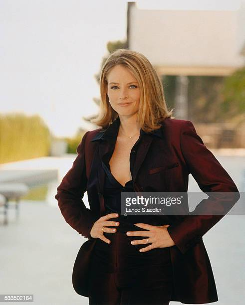 Jodie Foster Wearing a Dark Burgundy Suit