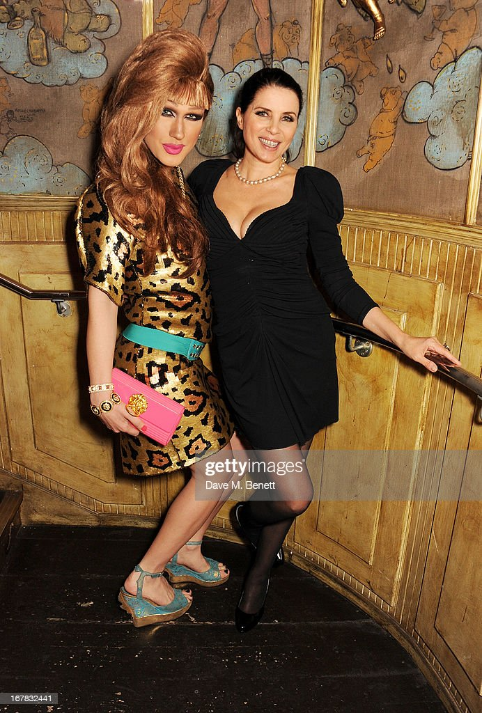 Jodie Harsh (L) and Sadie Frost attend Fran Cutler's surprise birthday party supported by ABSOLUT Elyx at The Box Soho on April 30, 2013 in London, England.