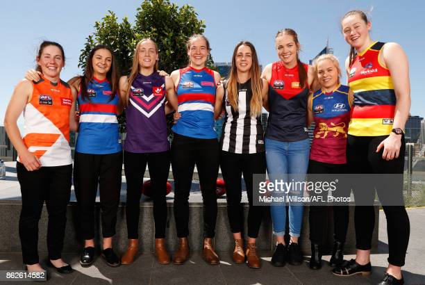 Jodie Hicks of the Giants Monique Conti of the Bulldogs Stephanie Cain of the Dockers Isabel Huntington of the Bulldogs Chloe Molloy of the Magpies...
