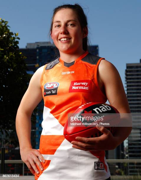 Jodie Hicks of the Giants poses for a photograph during the 2017 NAB AFL Women's Draft at Docklands on October 18 2017 in Melbourne Australia
