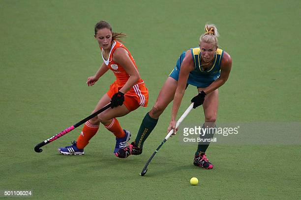 Jodie Kenny of Australia competes with Kelly Jonker of the Netherlands during the 5th/6th place match between the Netherlands and Australia on day 8...