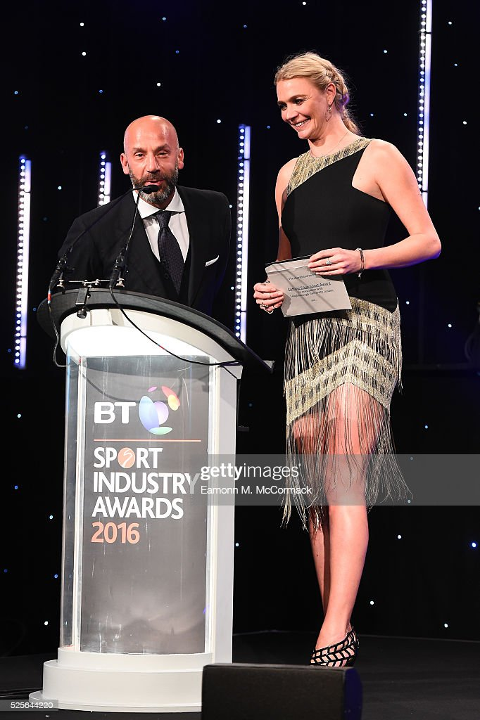 Jodie Kidd and Gianluca Vialli present the Cutting Edge Sport award in association with Loughborough University to FIA Formula E Championship at the BT Sport Industry Awards 2016 at Battersea Evolution on April 28, 2016 in London, England. The BT Sport Industry Awards is the most prestigious commercial sports awards ceremony in Europe, where over 1750 of the industry's key decision-makers mix with high profile sporting celebrities for the most important networking occasion in the sport business calendar.