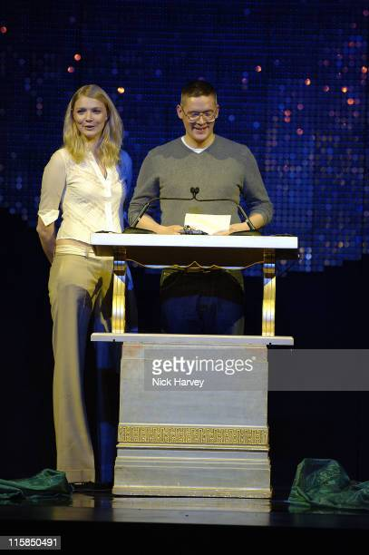 Jodie Kidd and Giles Deacon during 2005 Lancome Colour Design Awards Inside at Freemason's Hall in London Great Britain