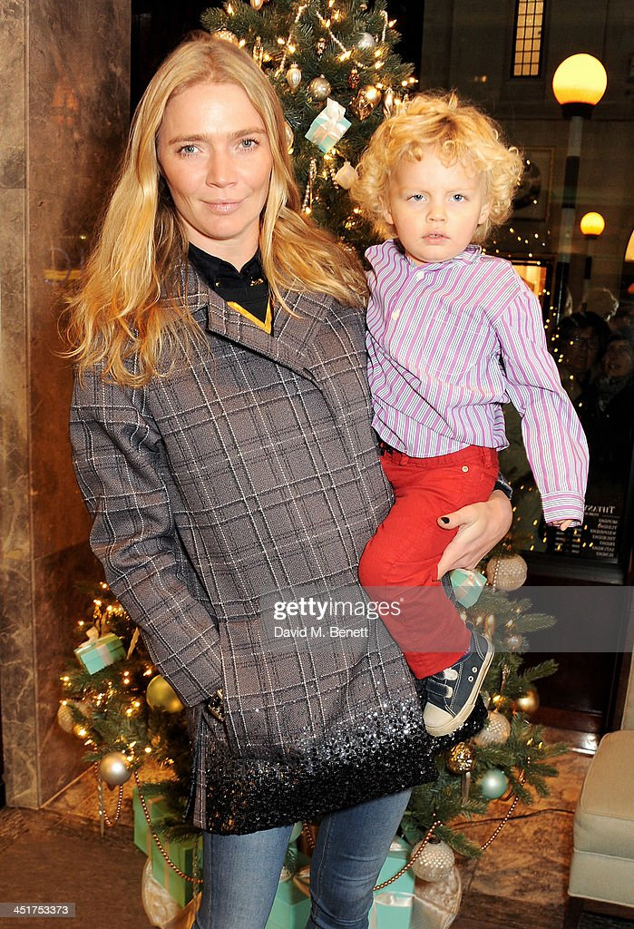 Jodie Kidd (L) and son Indio attend as Joely Richardson officially opens the Tiffany & Co. Christmas Shop on Bond Street, London on November 24, 2013 in London, England.