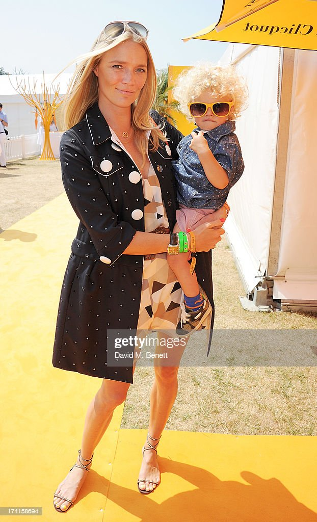 Jodie Kidd and son Indio attend the Veuve Clicquot Gold Cup Final at Cowdray Park Polo Club on July 21, 2013 in Midhurst, England.