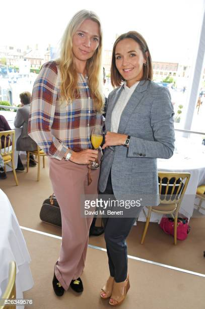 Jodie Kidd and Victoria Pendleton attend the Longines hospitality lounge at the Global Champions Tour at the Royal Hospital Chelsea on August 4 2017...