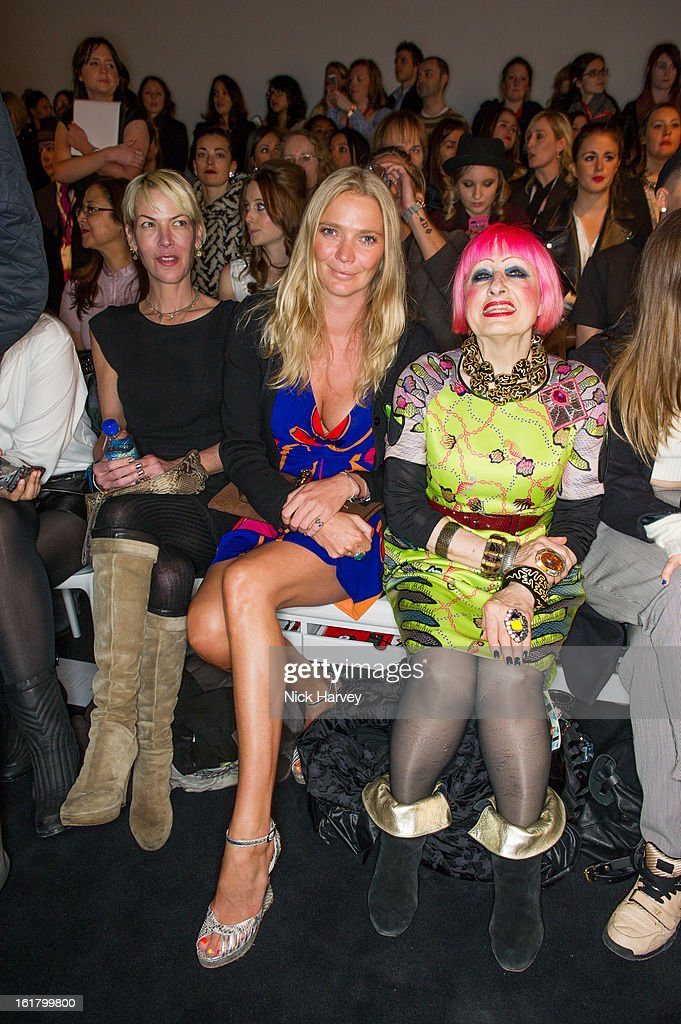 Jodie Kidd (C) and Zandra Rhodes (R) attend the Issa London show during London Fashion Week Fall/Winter 2013/14 at Somerset House on February 16, 2013 in London, England.