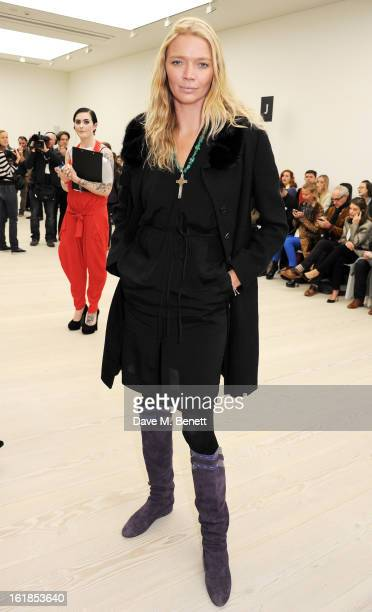Jodie Kidd attends the Vivienne Westwood Red Label show during London Fashion Week Fall/Winter 2013/14 at the Saatchi Gallery on February 17 2013 in...